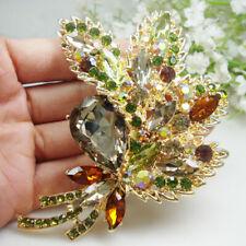 Woman's Vintage Brown Rhinestone Crystal Flower Leaf Pendant Brooch Pin