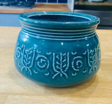 Vintage 1950s CROWN DEVON Teal Retro Embossed Oven to Table Serving Bowl Dish