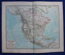 NORTH AMERICA, USA, CANADA, MEXICO, original antique map, Stieler 1880