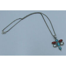 .925 Sterling Silver Natural Turquoise White Pearl Red Coral Dragonfly Necklace