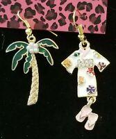 "Betsey Johnson Crystal Coconut Tree and enamel kimono Drop Dangle Earrings 2.5"""