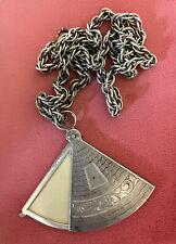 Antique Sterling Fan Shape Locket Pendant Necklace