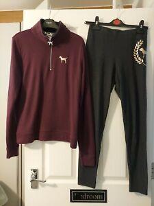 ladies victoria secret pink top & legging set size medium