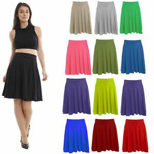 Women Plain Knee Length Ladies Soft Ponty Flared Short Skater Midi Skirt 12-26!.
