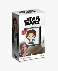 HAN SOLO CHIBI - 2021, 1 oz .999 Fine Silver $2 Coin w/ COA, Star Wars Skywalker