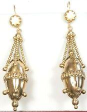"""Victorian Edwardian Art Deco Earrings 14K Yellow Gold 2.29"""" x .55"""" 8.6 Grams"""