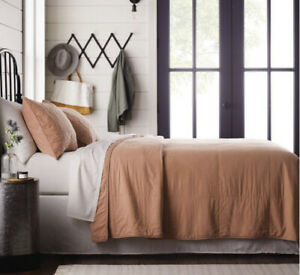 Hearth & Hand Magnolia Copper Box Stitch Solid Quilt Full Queen And 2 Shams Set