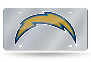 Los Angeles LA Chargers Silver Glitter Look 12x6 LASER License Plate Tag