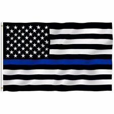 THIN BLUE LINE AMERICAN FLAG POLICE LAW ENFORCEMENT 3' X 5' US Seller BRAND NEW