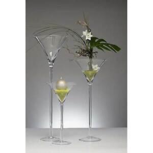 XXL Martiniglas, Bodenvase auf Fuß H. 90cm Ø 35cm transparent rund Sandra Rich