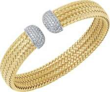 "Charles Garnier ""Bellini"" Gold-Plated Sterling Silver 12mm Mesh CZ Cuff Bracelet"