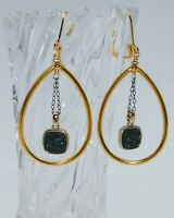 GOLD HOOP DRUZY DANGLE DROP LEVER BACK EARRINGS