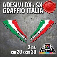 Adesivi Sticker GRAFFIO ITALIA ITALY FLAG BANDIERA DXeSX MOTO AUTO 20x20 2 PZ.
