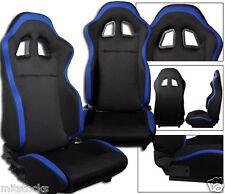 NEW 2 BLACK & BLUE CLOTH RACING SEATS RECLINABLE ALL CHEVROLET **
