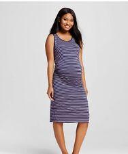 Liz Lange Maternity Tank Purple blue stripe dress knee Length Medium ruched