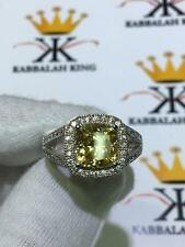 Platinum Sterling Silver Yellow Sapphire Cushion Cut Split Shank Halo Ring Sz 9