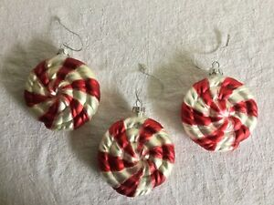 Vintage SSC Glass Peppermint Candy Christmas Ornaments lot of 3