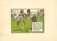 1905 laws of cricket  original colour print -  bowler & batsman