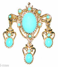 VINTAGE PIN TURQUOISE CABOCHONS DANGLING CHARMS NEOCLASSIC GILDED SIGNED SPHINX