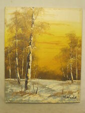 vintage painting artwork canvas original signed art nature wilderness K. Nicola