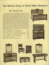 1937 PAPER AD Italian Renaissance Bedroom Furniture LaReole Louis XV Suite