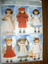 """18"""" DOLL NEW Butterick 5589 Pattern Pinafore Jumper Tights Shoes American Girl"""