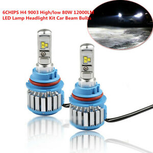2X 6CHIPS H4 9003 High/low 80W 12000LM LED Double Lamp Headlight Car Beam Bulbs