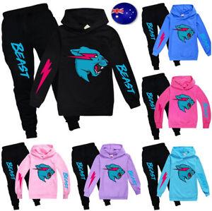 Mr Beast Lightning Cat Hoodie Tops Pants Tracksuit Outfit Sweatshirt Sportswear