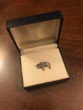 Vintage Buffalo Tie Tack Pin Pewter Bison Nickel chain Necktie Accessory