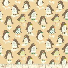 Mezcla de nieve día Penguin Parade Taupe Fq 100% Algodón Acolchado Navidad De Tela