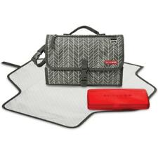 Skip Hop Pronto Portable Baby Foldaway Changing Mat + Wipes Case GREY FEATHERS