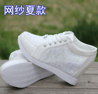 Hot Womens Floral Lace Summer High Top Hidden Wedge Heel Sneakers Trainer SHoes