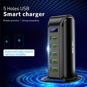 Multi  5 Port USB LED HUB Charger Tower Charging Adapter Wall Desktop Station
