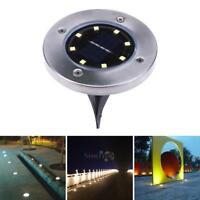8 LED Solar Powered Buried Light Under Ground Lamp Outdoor Path Way Garden Decor