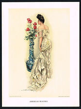 1906 Antique Howard Chandler Christy Victorian Girl Lady Fashion Roses Art Print