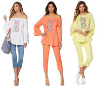 DG2 by Diane Gilman Embroidered Off-the-Shoulder Top with Ruffle Hem, HSN $59.9