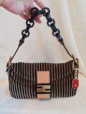 FENDI Pequin Velveteen Stripe Black Lucite Chain Handbag RED Charm
