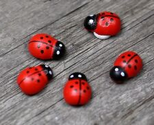 10 pcs Miniature Red Wooden Ladybugs  Fairy Garden Animal Ornament Accessories
