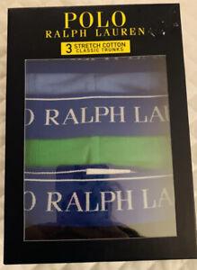 Polo Ralph Lauren Cotton Stretch 3Pk Men's Boxer Trunks Navy/Green/Blue M RRP£45