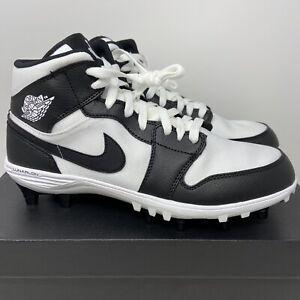 Nike Air Jordan Retro 1 TD Mid Football Cleats Men's 9 White Black AR5604-100