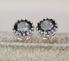 18K White Gold Filled -MYSTICAL Rainbow Round Topaz Flower Lady Stud Earrings 01