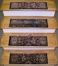 "Rug Depot Set of 13 Traditional Non Slip Carpet Stair Treads 26""x7.5"" Navy/Multi"