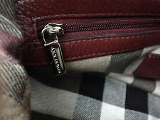 BURBERRY Burgundy Leather Satchel Bowler Bag w Buckles & Nova Check Print Lining