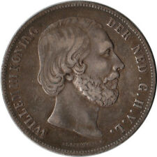 1858 Netherlands 2-1/2 Gulden Large Silver Coin KM#82