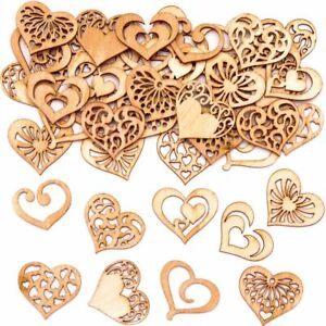 MINI Wooden Filigree HEARTS Wood Shapes Wedding Craft Cards Button Decorate