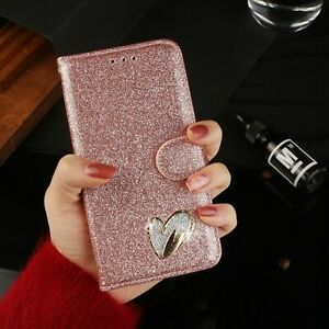 Phone Case for Huawei Y6 2019 Flip Wallet Leather Heart Diamond Shiny Cover