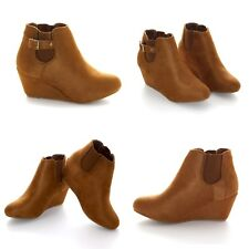 Ladies Wedge Boots Women Faux Suede Ankle Biker Heels Shoes Size UK 3-9