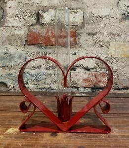 Heart Shape Metal Heart Bud Vase Red Candle Holder