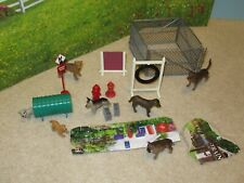 Lot of 7 Dogs + Pretend Play Dog Agility Toys Kennel Tunnel NEW & VGC