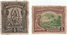 1918-25 companhia de mocambique..1/4c brown/green & 1/2c black